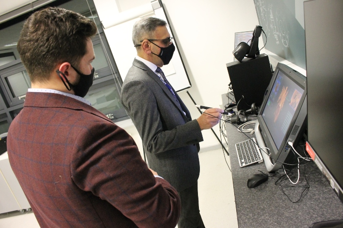 Digital superpowers - Principal & CEO of Cheshire College - South & West, Dhesi using the equipment