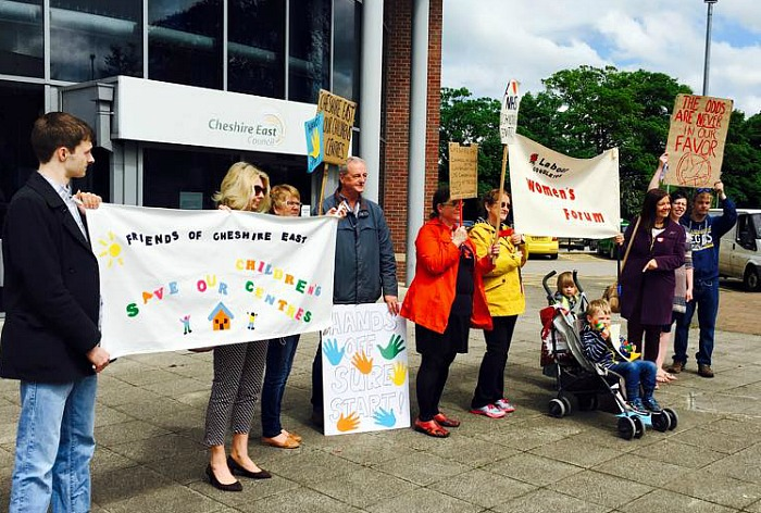 Sure Start children's centres Protest outside Cheshire East Scrutiny Committee Meeting Photo 5