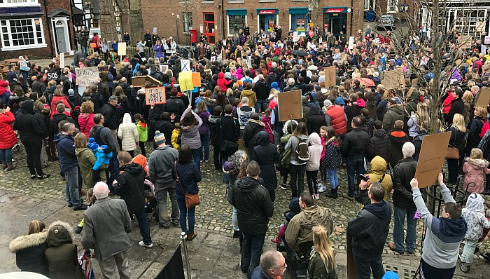 Protesters on the Cobbles - national funding formula in Cheshire East