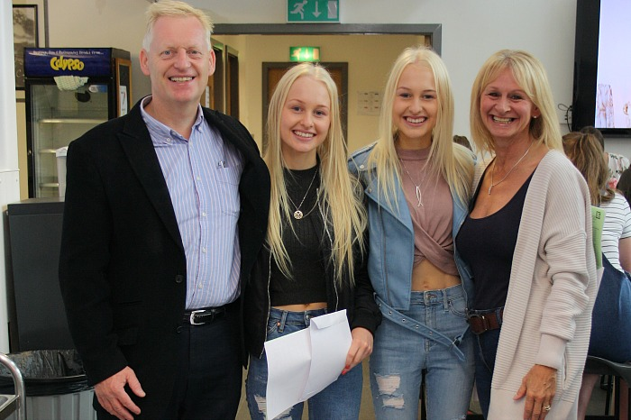 Proud parents Richard and Pauline Calderhead were on hand to congratulate twin daughters, Sarah and Lucy on their excellent results