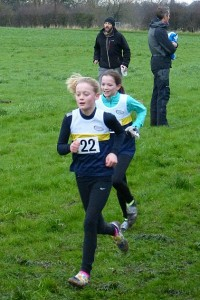 Pru Lindsey on way to U11s girls bronze at Cheshire Cross Country Championships