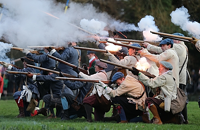Publicity photo - Battle of Nantwich re-enactment on Mill Island - musketeers fire at opposing forces (1)