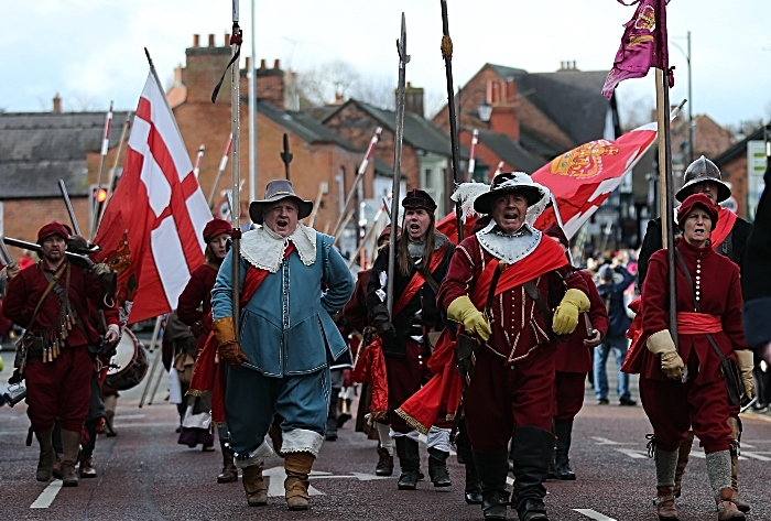 Procession along Welsh Row into the town - Battle of Nantwich