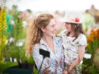 Mother and child in the Floral Marquee on Ladies Day at the RHS Flower Show Tatton Park 2016.