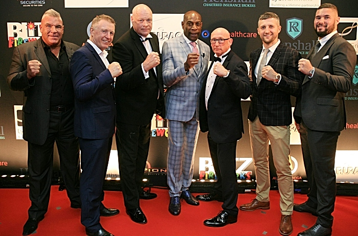 ROAD TO THE RING 1 Lto R Joe Eagan, Steve Collins, Pete Shuff, Frank Bruno, Ken Lawton, Carl Froch and Tony Bellew. Picture Courtesy of Tim Jervis Professional Photography (1)