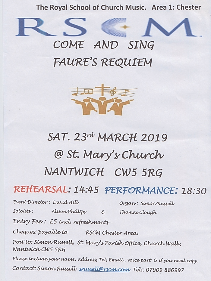 RSCM - Come and Sing Faures Requiem - Sat 23-3-19