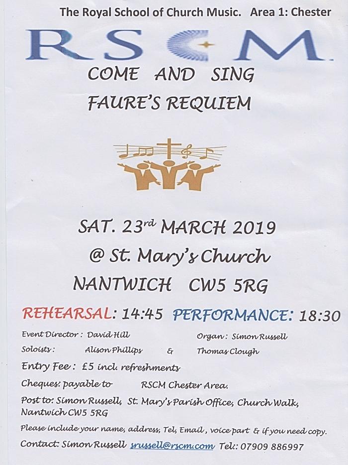 RSCM - Come and Sing Faures Requiem - Sat 23-3-19