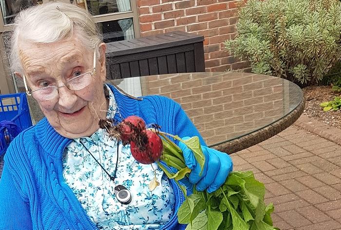 Rachael and her radish crop - richmond village