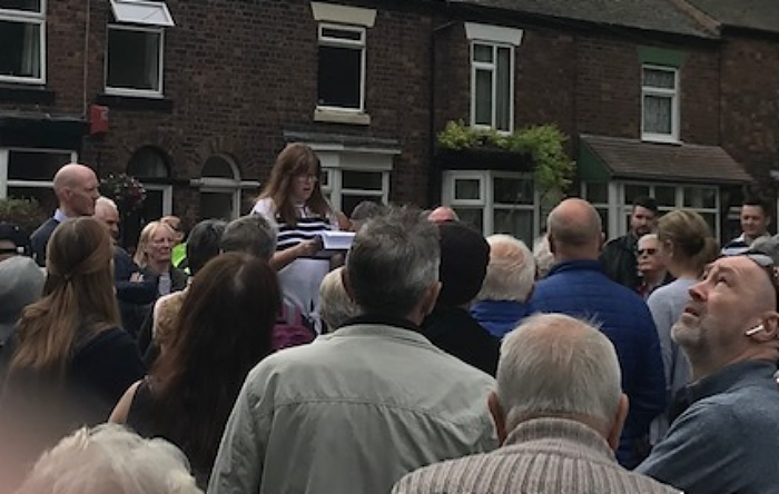 Rachel Cole addresses the Barony Park crowd