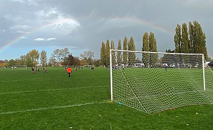 Rainbow over Barony Park - sunday football