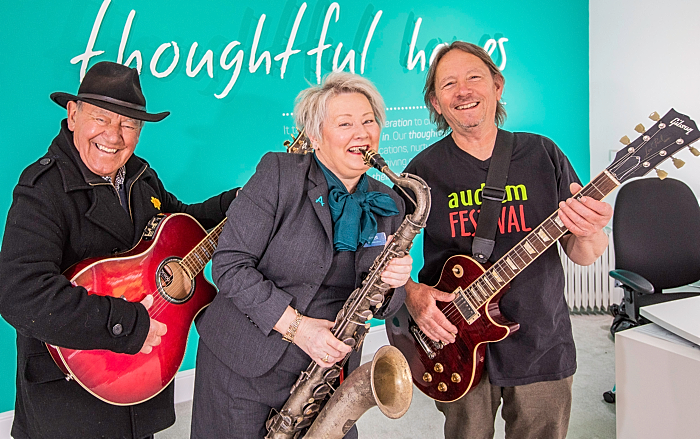 Music & Arts Festival - Ralph Warburton (l) and Pete Marshall (r) with Anwyl Homes' sales advisor Janet Smith (1)