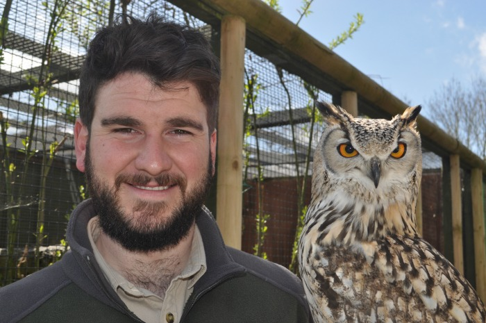 Reaseheath falconer Joe Cooper and Ravi Indian Eagle Owl