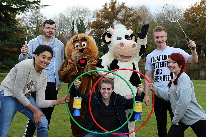 children in need Students Rebecca Derby, Will Foulkes, Pride the Lion (Sam Hearsey), Daisy the cow (Mali Ratcliffe), Tom Ratcliffe, Charlotte Corcoran and Dan Lee