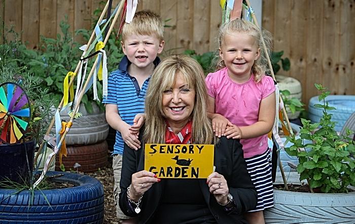 sensory garden Rebeccas Day Nursery - Joseph & Millie with Sylvia Dixon