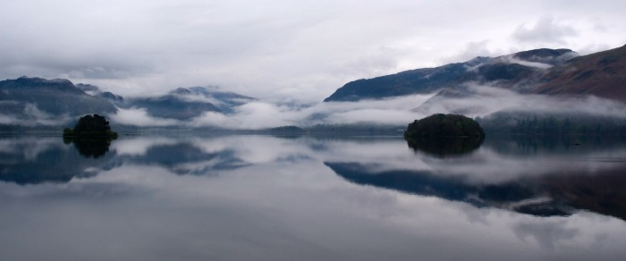 Early morning mist and relections on Derwent Water islands