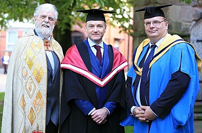 Rev Bernard Moss, Chris Beardshaw, Principal Marcus Clinton