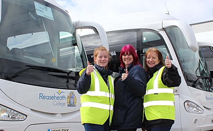 Rhianne Edisbury SA President, Alison Barnes driver, Natalie Williams Campus Supervisor - fleet of coaches