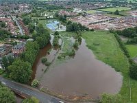 Aerial shots show flooded areas of River Weaver in Nantwich
