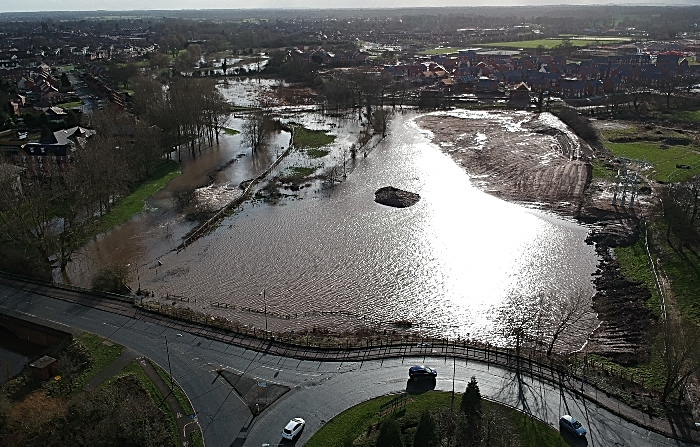 aerial of flooded weaver from reaseheath roundabout