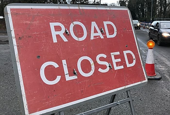 Main Road - Road Closed sign - Wistaston Green Road A530 Middlewich Road junction (1)