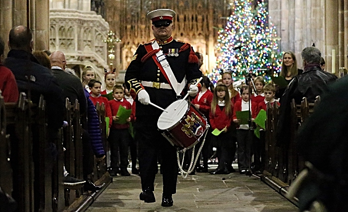 Robert Richardson plays the drum during The Little Drummer Boy accompanied by Elworth Hall School Choir (1)