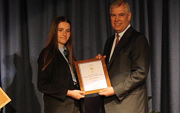 Rosie Meakin receives her award