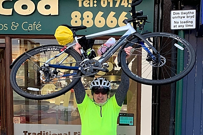 Roy Price celebrates finishing the route outside crispy Cod in Prestatyn (1)