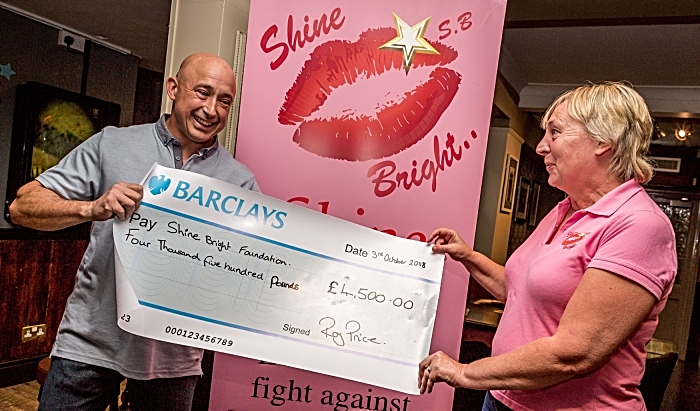 Roy Price presents cheque to Jacky Atkinson from Shine Bright Foundation (1)