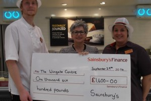 Wingate Centre in Wrenbury donated £1,600 from Sainsbury's cheese!