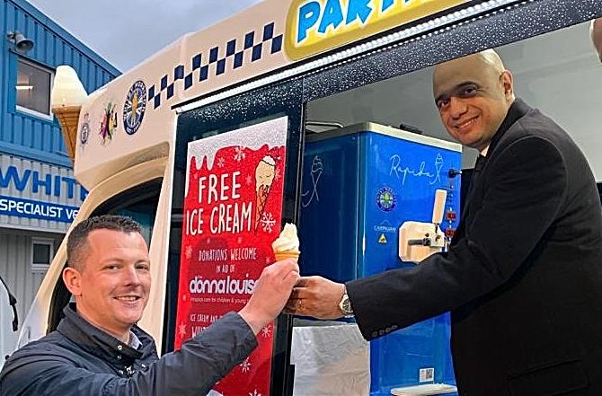 Sajid Javid visits Whitby Morrison in Crewe - ice cream vans
