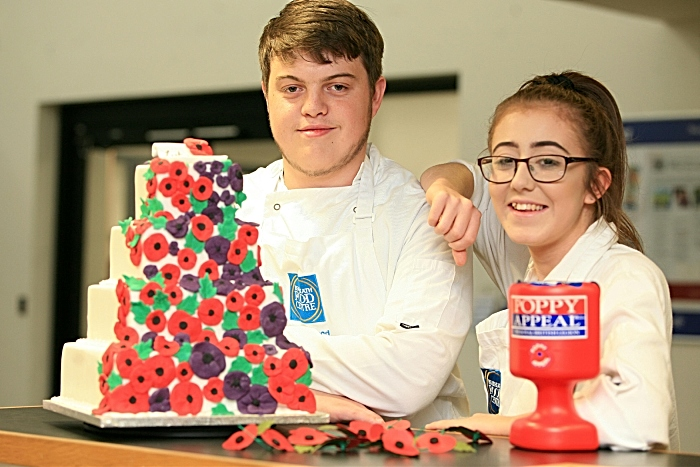 Sam Fullwood and charlotte Millington L3 Bakery and Patisserie students 4 tier cake (1)