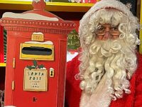 Santa's Grotto replaced by postbox at Nantwich Bookshop