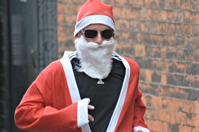 Santa Dash participant in shades