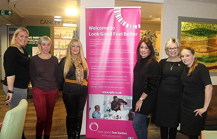 Sarah Addis (left) with Look Good Feel Better beauty volunteers at Leighton Hospital