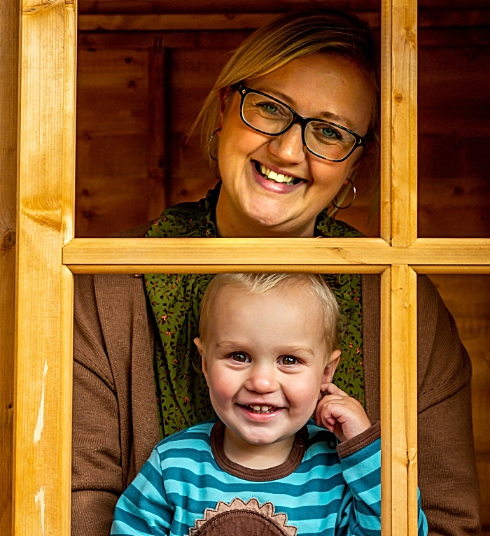 Sarah Matthews and Edward in the newly-constructed wooden play house