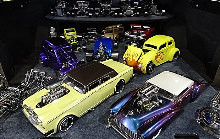 Scale-model metal cars on display - all handmade by Peter Gething from Hotrods N Burnt Fingers (2) (1)