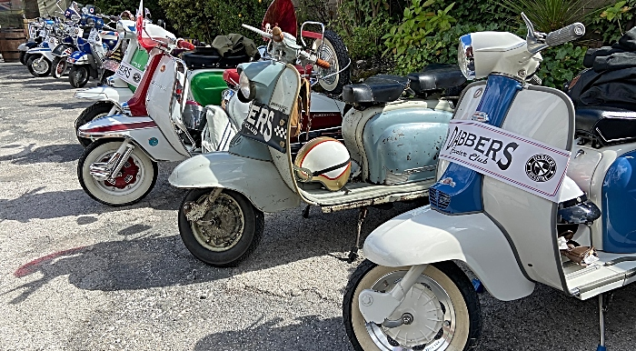 Scooters on display at The Railway Hotel
