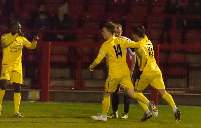 Sean Cooke leveller against Witton - by Martyn Wilson