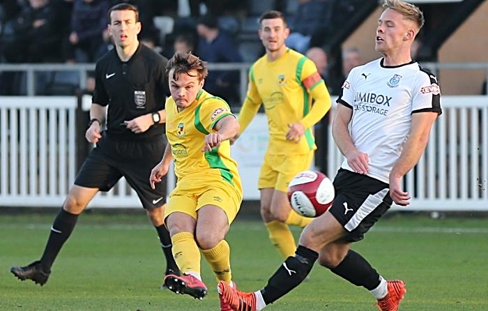 Sean Cooke shot at goal was saved by Bamber Bridge keeper Lloyd Rigby (1)