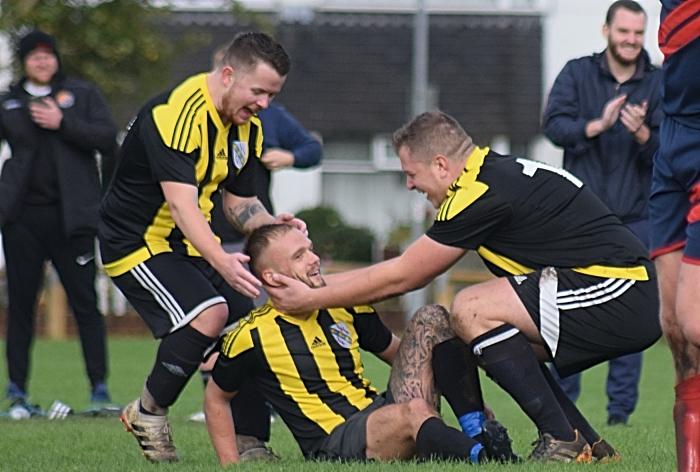 Second AFC Talbot goal - scorer and teammates celebrate (1)