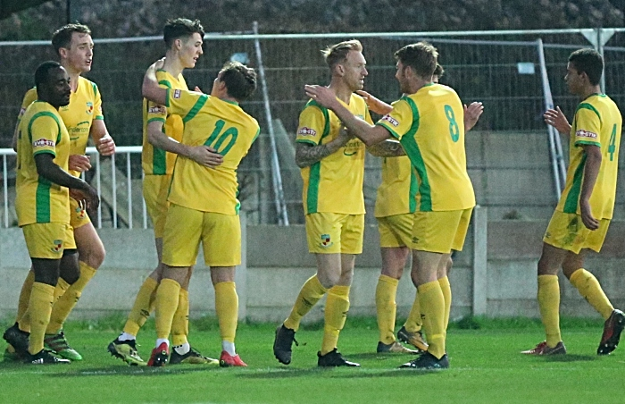 Second Nantwich Town goal - Joe Mwasile celebrates with Dabbers players (1)