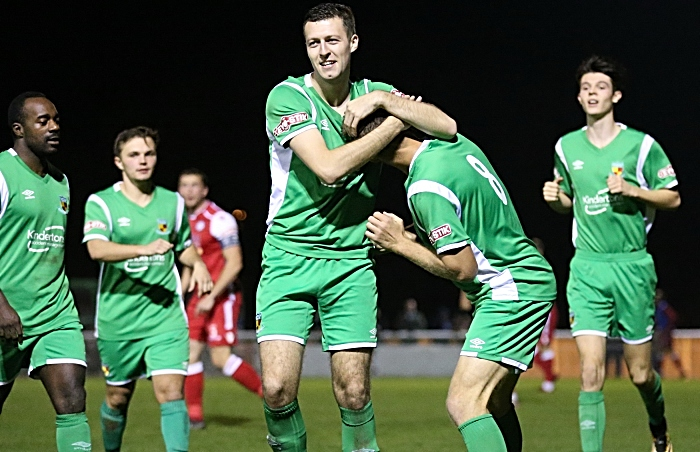 Second Nantwich goal - Craig Lindfield celebrates with James Lawrie (1)