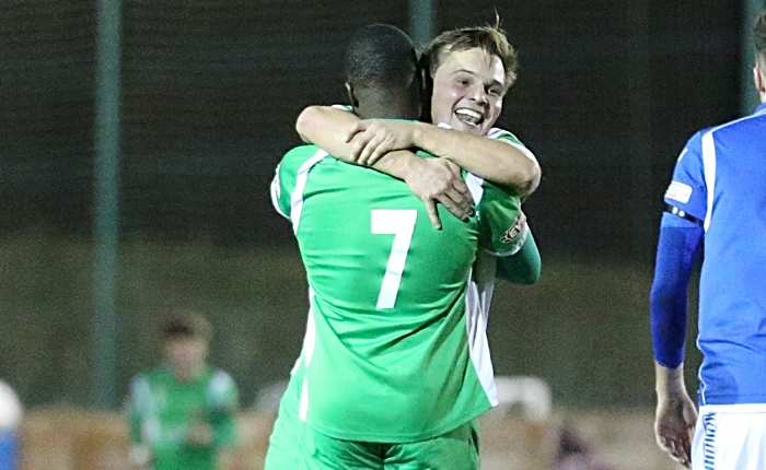 Second Nantwich goal - Joe Mwasile celebrates his goal with Sean Cooke v Warrington