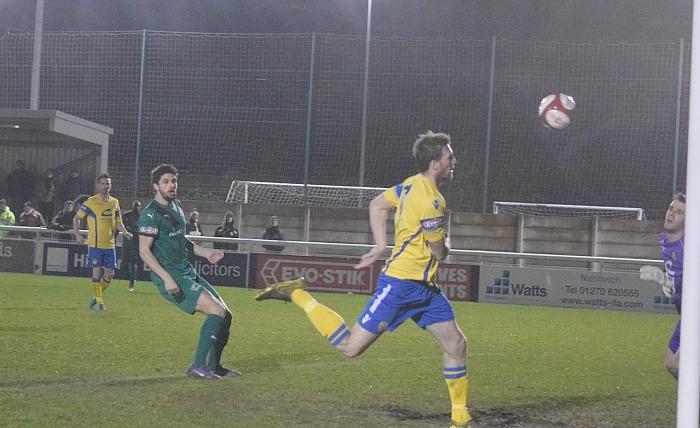 Second Nantwich goal - Matt Bell - Curtis Jones watches the ball into the net