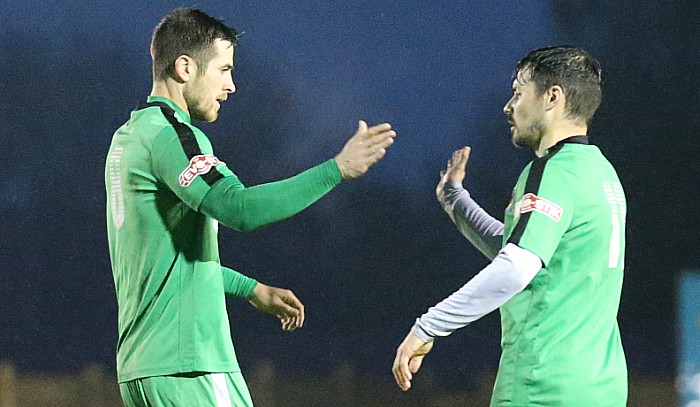 Second Nantwich goal against Shaw Lane - Matt Bell celebrates with Danny Griggs