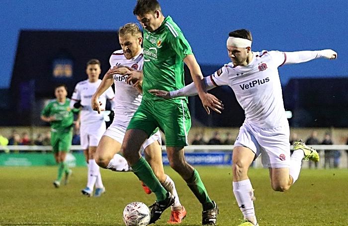 Second-half - Ben Harrison moves forwards under pressure (1)