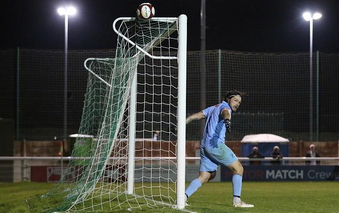Second-half - Caspar Hughes long-range shot beats the keeper but just misses the target (1)