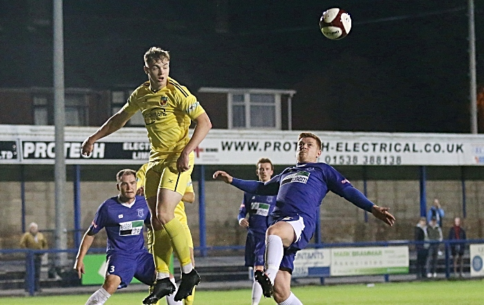 Second-half - Connor Heath rises to win the ball (1)