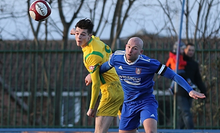 Second-half - Joe Malkin wins the header from captain Danny Ellis