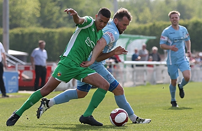 Second-half - Man of the Match Troy Bourne challenges for the ball (1)